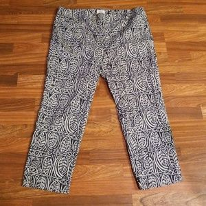 LOFT Navy and White Ankle Pants Sz.16